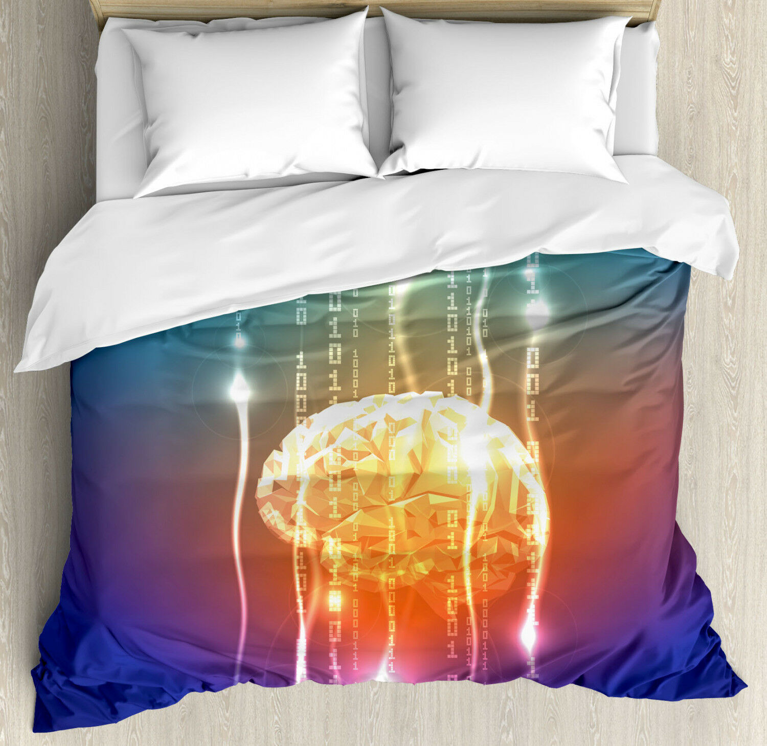 Fantasy Duvet Cover Set with Pillow Shams Abstract Binary Digit Print