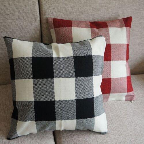 "Red Black Checked Plaid Decor Throw Pillow Case Square Cushion Cover 45cm 18/"""