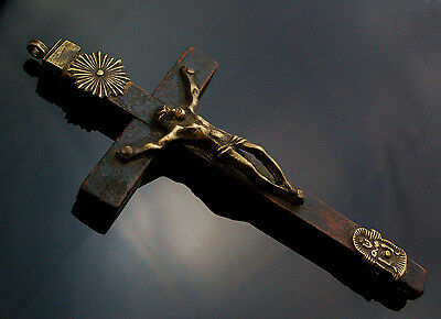 Antique 17th Century Original Pectoral Cross Brass and Wood Pendant Reliquary