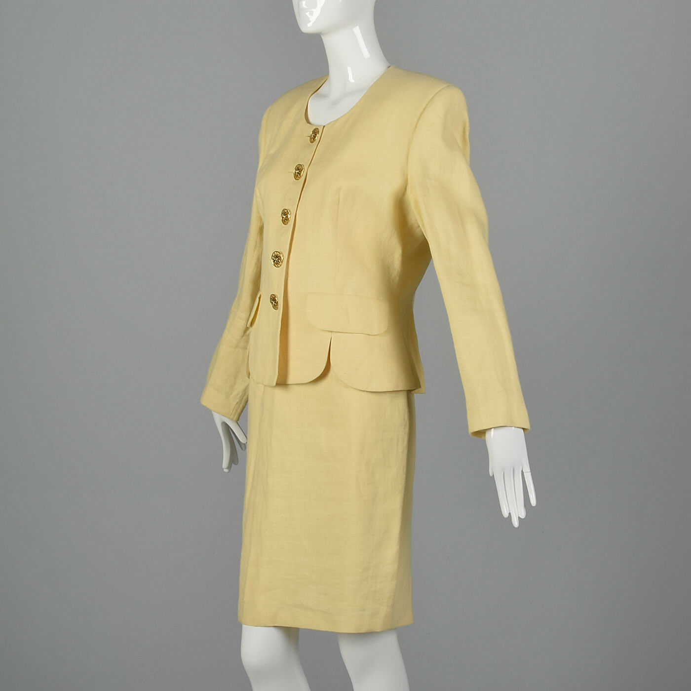 M 1990s Moschino Cheap & Chic Yellow Linen Suit S… - image 3