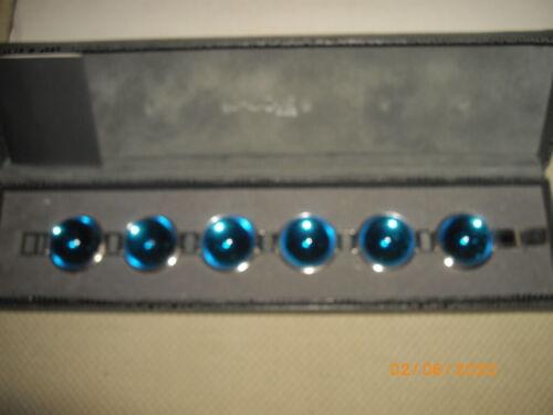 """Lalique Blue Crystal Cabochon Bracelet 8"""" Boxed wi"""