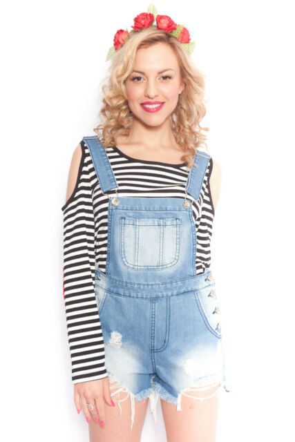Distressed Overalls in Blue Denim Frayed Festival Summer Shorts 6 8 10 12