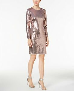 e354862f Calvin Klein Womens Long Sleeve Sequined Sheath Rose Gold Dress Size ...
