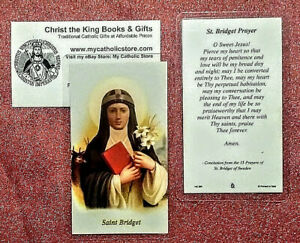 Details about ST BRIDGET OF SWEDEN LAMINATED HOLY CARD-W/PRAYER FROM HER  FAMOUS 15 PASSION PRS