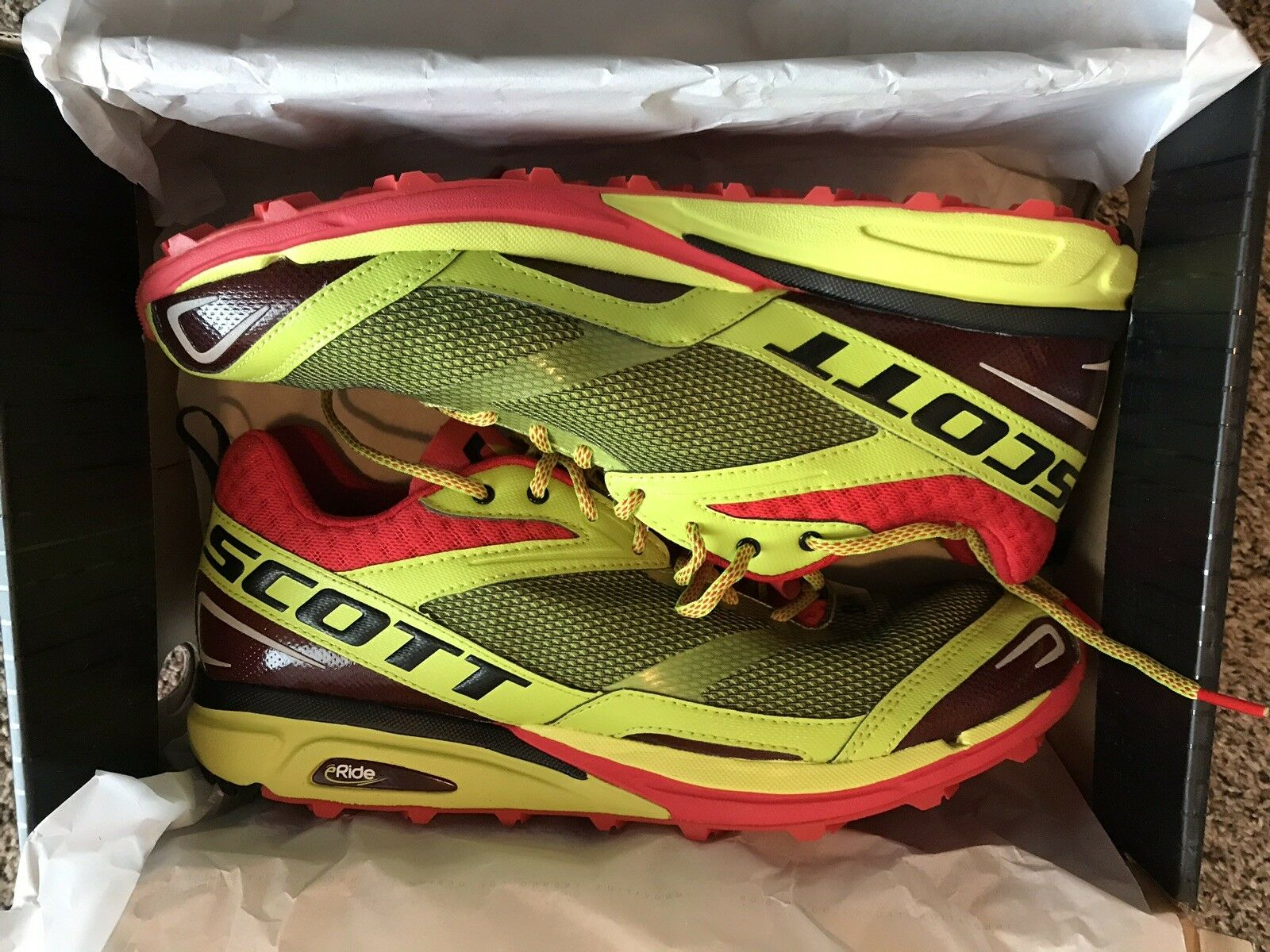 NEW Scott ERide Grip2 Men's Trail Running shoes - Size  12   46 - Lime Green Red