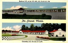 COLUMBIA SC THE CORONET MOTEL 2 DIFFERENT POSTCARDS