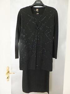 BANDTILEMADELEINE Luxus Damen Kostüm Strick-Set Longjacke+Top+Rock 3 tlg Gr.34/36 NEU