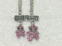 Bff Best Friend Pink Rhinestone Bears Charm 2 Necklaces, 2 Pendants