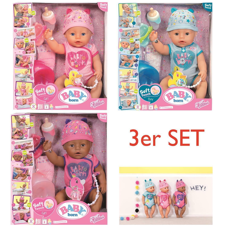Zapf 824368 + 824375 + 824382 - Baby Born SET - Soft Touch Girl + Boy - 3 Puppen