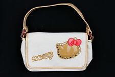 Womens Girls Teens Hello Kitty Sanrio Small Beige Tan Gold Logo Purse Handbag