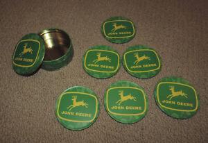 Set of 6 JOHN DEERE Drink Coasters Cork Bottoms Metal Tin Holder