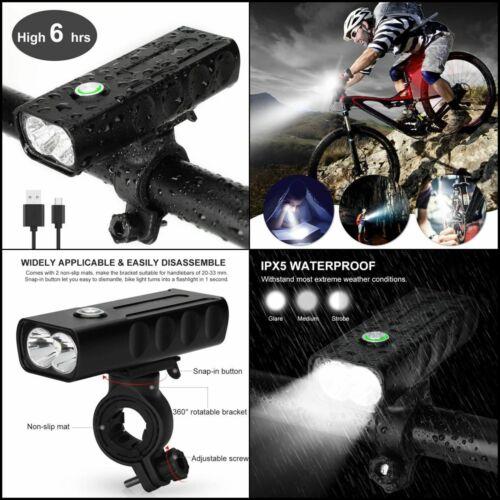 Lampe Avant USB LED 1000LM,3 Modes Luminosité VTT Éclairage Vélo Rechargeable