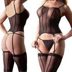 Straps-Set Strapshemd S M L String Slip Strümpfe Sexy Damen Dessous Unterwäsche