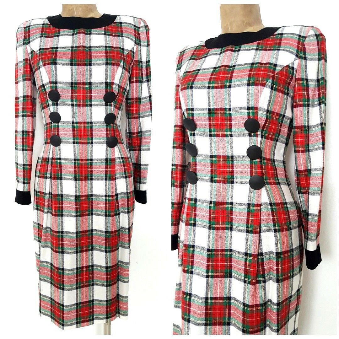 Vintage 80s Kathryn Conover Plaid Dress Size Small Pencil Secretary Midi Bandage
