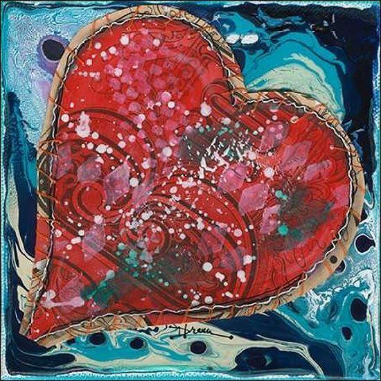 Denise Braun  Stitched rot Heart I Keilrahmen-Bild Leinwand Herz Liebe
