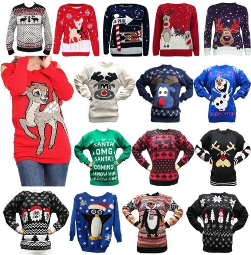 Ladies Unisex Rudolph Reindeer Printed Soft Stretchy Christmas Xmas Midi Jumper