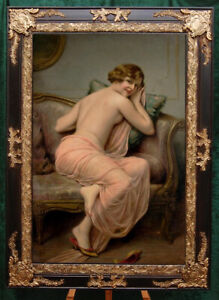 """Old Master-Art Antique Oil Painting Noblewoman nude girl on canvas 24""""x36"""""""