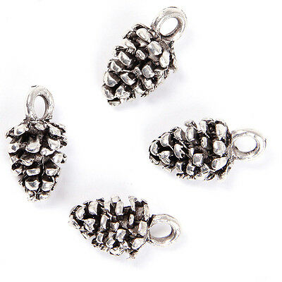 70x Bulk Charms Pine Cone Style Antique Silver Tone Alloy Pendent Finding Crafts