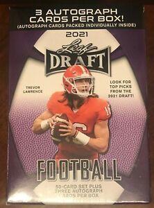 "2021 Leaf Draft Football ""Hobby Blaster"" Box 3 Auto Autograph RC Trevor Lawrence"