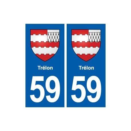 59 Trélon blason autocollant plaque stickers ville -  Angles : droits