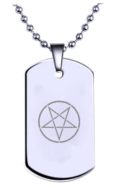 Magica Pentagramma Inciso Nome Testo Militare Piastrina Cane