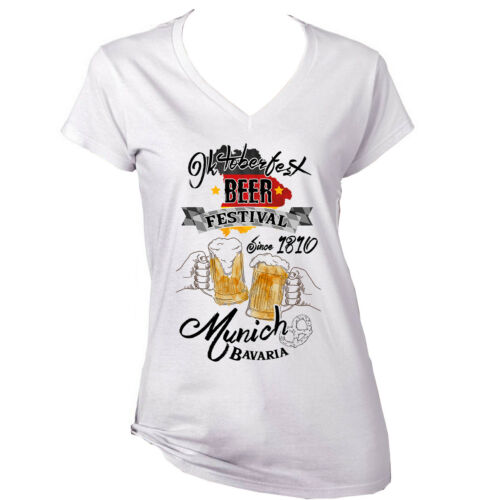 NEW WHITE COTTON LADY TSHIRT OKTOBERFEST MUNICH