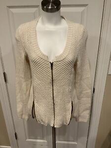 Details about Charlie & Robin Anthropologie Cream Knit Zip Up Cardigan, Size Medium