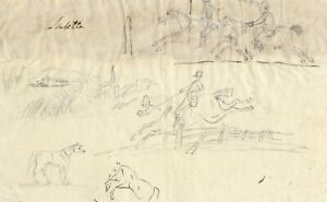 Isabella Loraine-Smith, Hunters on Horseback-Early 19th-century graphite drawing