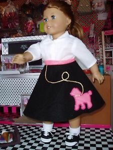 4pc-Poodle-Skirt-Outfit-Fits-American-Girl-Dolls-18-034-Doll-Clothes-Black-Hot-Pink