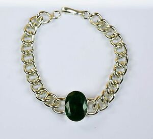 Bracelet-Men-039-s-Fashion-Stainless-Steel-Natural-Emerald-Gemstone-IN-41