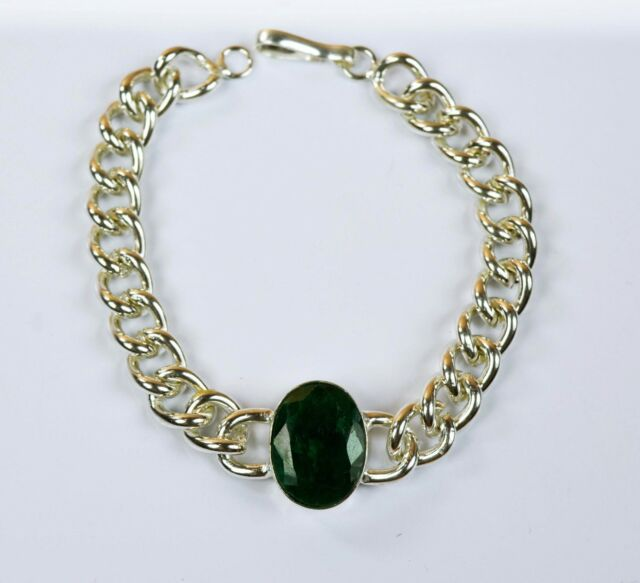 Bracelet Men's Fashion Stainless Steel Natural Emerald Gemstone-IN-41