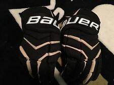 "Penguins BAUER Total One NXG Pro Stock 15"" Black Gold NEW hockey Gloves"