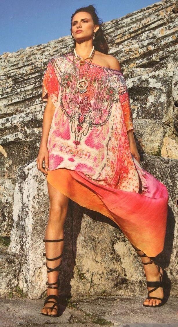 CAMILLA FRANKS Seda Serpiente del Mar  Kaftan un Tamaño Maxi vestido adornado impresionante  tienda de ventas outlet