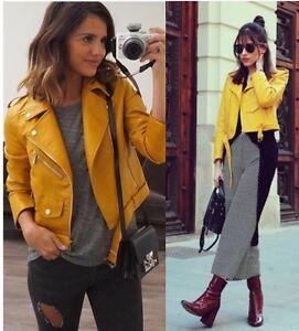 Zara Mustard Yellow Pu Faux Leather Biker Zip Up Jacket