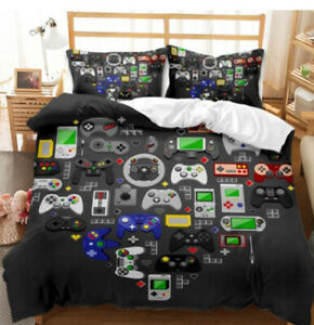 3D Gamer Geek Video Game Duvet Quilt Cover Bedding Set PlayStation PillowCase 6#
