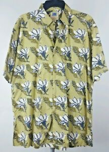 KAHALA-Mens-Yellow-Floral-Hawaiian-Short-Sleeve-Shirt-Large-L