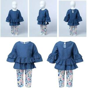 Baby-2Pcs-Girls-Casual-Outfits-Ruffle-Peplum-Tops-Floral-Pattern-Pants-Clothes