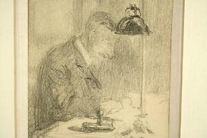Gabriel-Pascal-QUIDOR-1875-1928-Bleistift-Zeichnung-Schreibender-Frankreich
