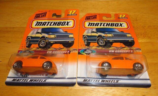 1998 Matchbox Mattel Wheels #17 VW Concept 1 Orange 1:64 (Lot of 2) -  Brand New