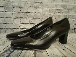 ETIENNE-AIGNER-VENI-BLACK-Leather-Mid-Heel-Classic-Career-Pump-7-5-M