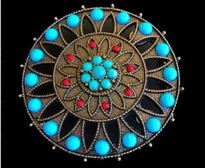 Round-Belt-Buckle-Western-Style-Cowgirl-Rodeo-Blue-Turquoise-Colored-Stones