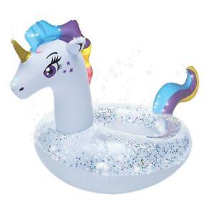 Pool-Float-Inflatable-Swim-Ring-Unicorn-swimming-51-034-with-glitter-beach-fun-NEW