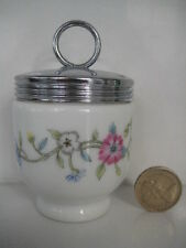 RARE EARLY ROYAL WORCESTER EGG CODDLER UNKNOWN PATTERN TEAL BLUE PURPLE FLOWERS