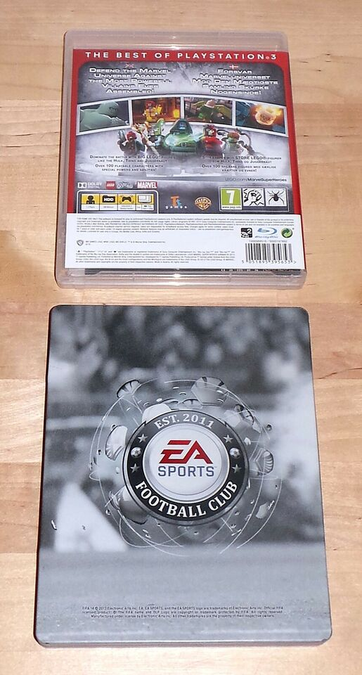 Cover + manual til LEGO MARVEL, FIFA 14 metalcover, Xbox