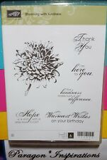 NEW Stampin Up BLOOMING WITH KINDNESS Clear Mount Stamps Flower Thank You Hope