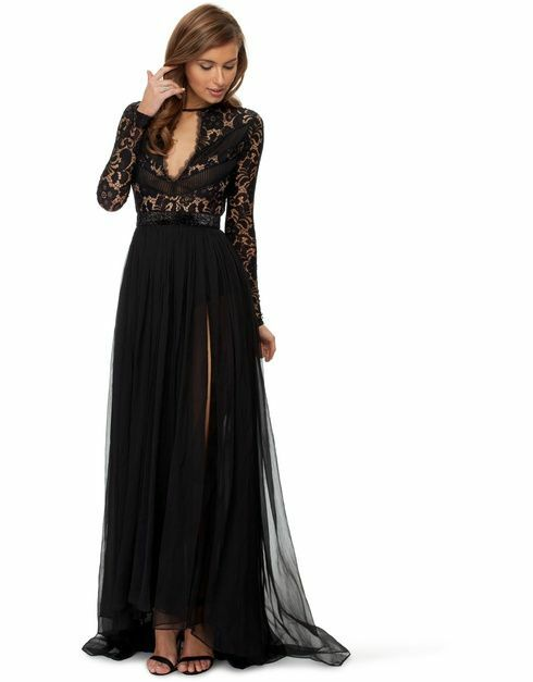 new RRP$390 FAME & PARTNERS HEARTLINE LACE EVENING DRESS BLACK 16 / 18