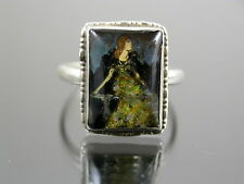 VINTAGE ART DECO STERLING SILVER & BUTTERFLY WING RING C.1920