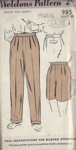 """38 1238 1940s Vintage Sewing Pattern W37/"""" MENS PANTS TROUSERS SHORTS"""