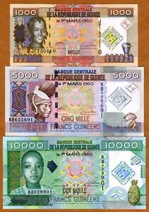 SET-Guinea-1000-5000-10000-2010-UNC-gt-Commemorative