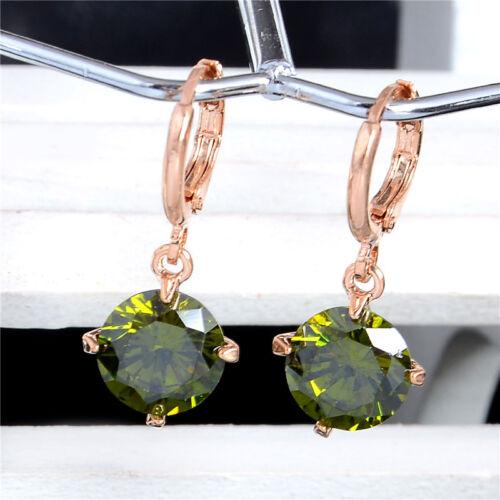 Fashion Hoop Pierres Zircon Cristal Dangle Boucles d/'oreilles Pour Femmes Filles